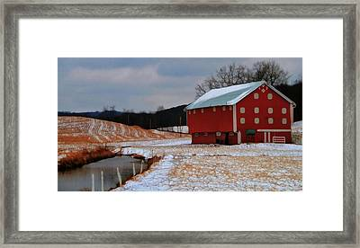 Red Amish Barn In Winter Framed Print by Dan Sproul