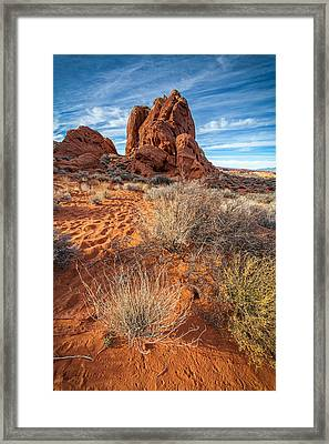 Red And Blue Valley Of Fire Framed Print by Peter Tellone