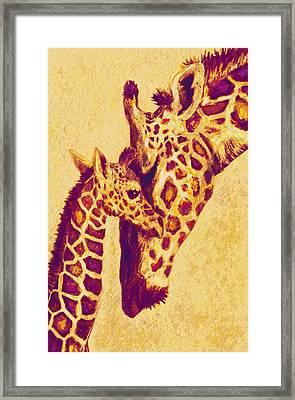 Red And Gold Giraffes Framed Print by Jane Schnetlage