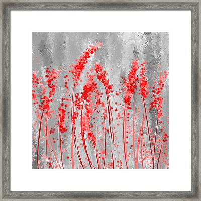 Red And Gray Art Framed Print by Lourry Legarde
