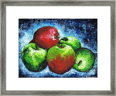 Red And Green Apples Framed Print by Kamil Swiatek