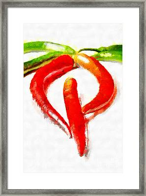 Red And Green Chili Peppers Painting Framed Print by Magomed Magomedagaev