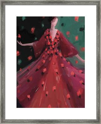 Red And Orange Petal Dress Fashion Art Framed Print by Beverly Brown