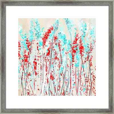 Red And Teal Fields Framed Print by Lourry Legarde