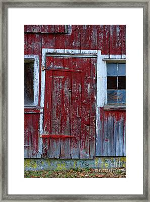 Red And Weathered Door Framed Print by Paul Ward