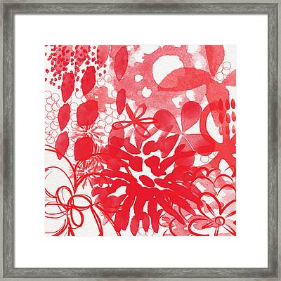 Red And White Bouquet- Abstract Floral Painting Framed Print by Linda Woods