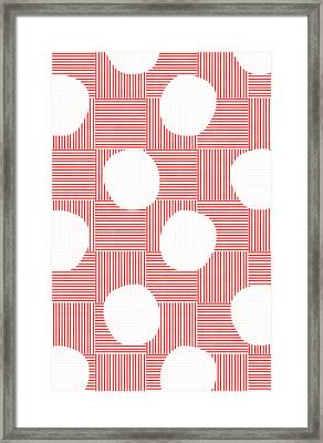 Red And White Poof  Framed Print by Linda Woods