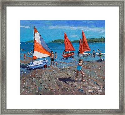 Red And White Sails Framed Print by Andrew Macara