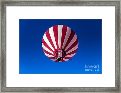 Red And White Striped Balloon Framed Print by Robert Bales
