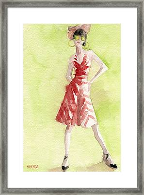 Red And White Striped Dress Fashion Illustration Art Print Framed Print by Beverly Brown