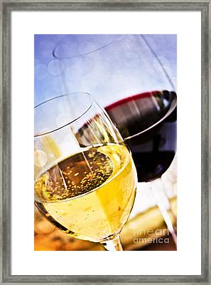 Red And White Wine Framed Print by Elena Elisseeva