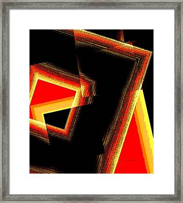 Red And Yellow Geometric Design Framed Print by Mario Perez