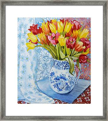 Red And Yellow Tulips In A Copeland Jug Framed Print by Joan Thewsey