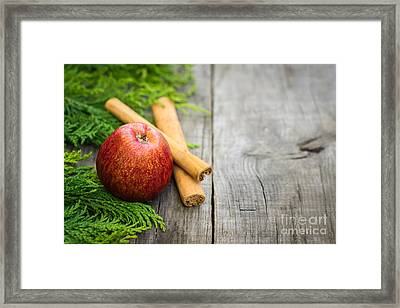 Red Apple With Cinnamon Sticks Framed Print by Aged Pixel