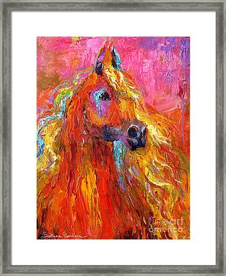 Red Arabian Horse Impressionistic Painting Framed Print by Svetlana Novikova