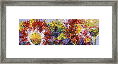 Red Asters Modern Impressionist Flower Painting Framed Print by Ginette Callaway