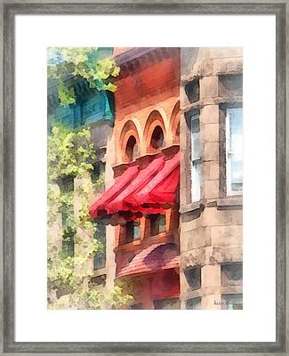 Hoboken Nj - Red Awnings On Brownstone Framed Print by Susan Savad