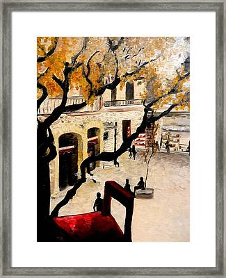 Red Balcony Chair Framed Print by Liz Young