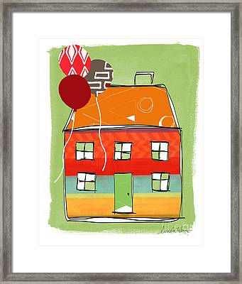 Red Balloon Framed Print by Linda Woods
