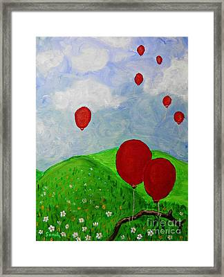 Red Balloons Framed Print by Sarah Loft