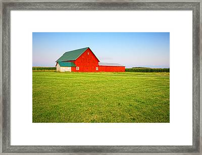 Red Barn Framed Print by Alexey Stiop