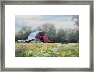 Red Barn In The Fog Framed Print by Jai Johnson