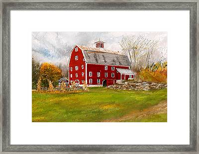 Red Barn In Woodstock Vermont- Red Barn Art Framed Print by Lourry Legarde