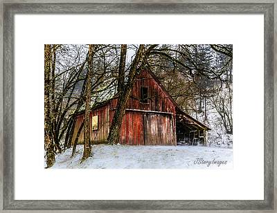 Red Barn Framed Print by Jimmy Story