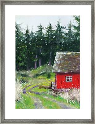 Red Barn Framed Print by Marie-Claire Dole