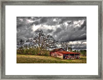 Red Barn On The Boswell Farm Framed Print by Reid Callaway