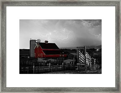 Red Barn On The Farm And Lightning Thunderstorm Bwsc Framed Print by James BO  Insogna