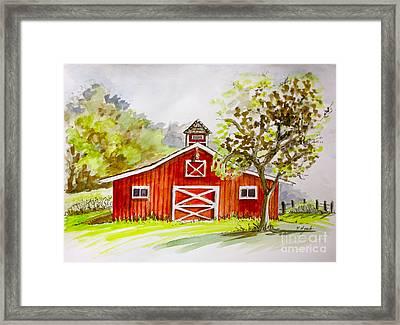 Red Barn Quebec Canada Framed Print by Yvonne Ayoub