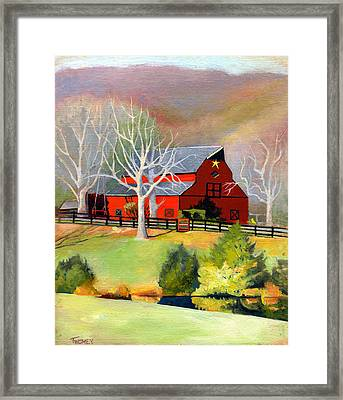 Red Barn Star  Framed Print by Catherine Twomey