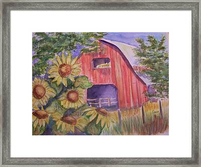Red Barn With Sunflowers Framed Print by Belinda Lawson