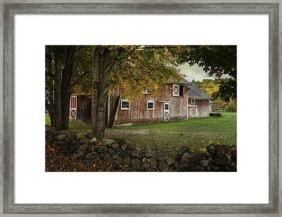 Red Barns And Stone Fences-new England Traditions Framed Print by Thomas Schoeller