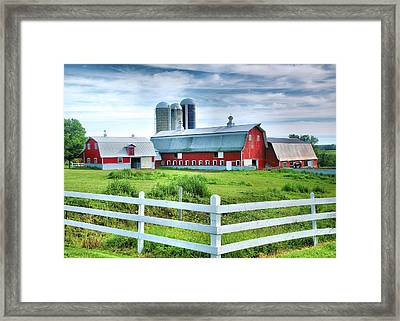 Red Barns And White Fence Framed Print by Steven Ainsworth