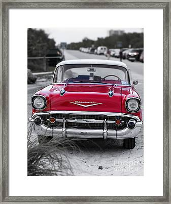 Red Belair At The Beach Standard 11x14 Framed Print by Edward Fielding