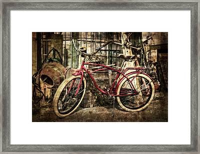 Red Bike Framed Print by Debra and Dave Vanderlaan