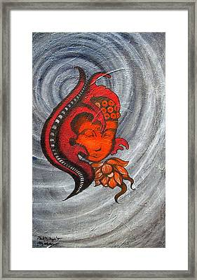 Red Black And Grey Original Large Textured Abstract Buddha Spiral Painting  Framed Print by Chakra Art