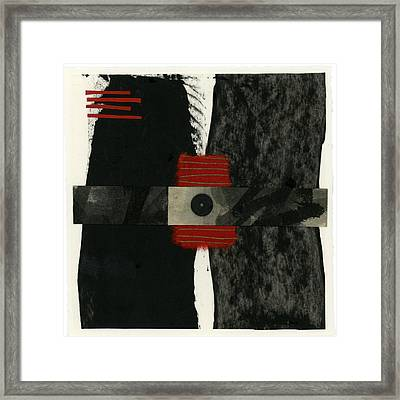 Red Black And White Collage 3 Framed Print by Carol Leigh