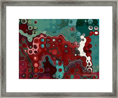 Red Blue Animal Abstract Framed Print by Aimelle