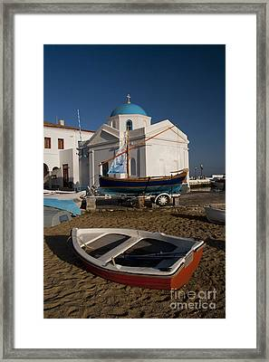 Red Boat In Mykonos At Dawn Framed Print by David Smith