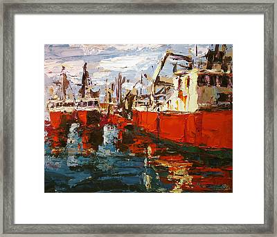 Red Boats Framed Print by Brian Simons