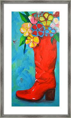 Red Boot With Flowers Framed Print by Patricia Awapara