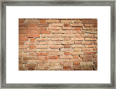 Red Brick Background Framed Print by Brandon Bourdages