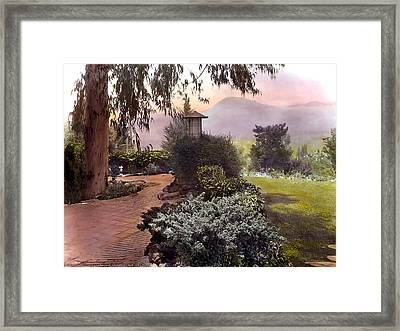 Red Bricks And Violet Mountain Framed Print by Terry Reynoldson