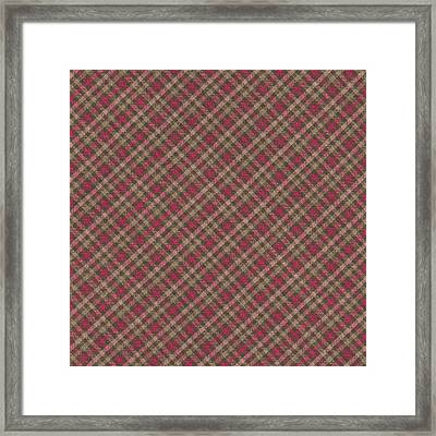 Red Brown And Green Diagonal Plaid Pattern Fabric Background Framed Print by Keith Webber Jr