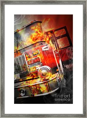 Red Burning Fire Rescue Truck With Flames Framed Print by Angela Waye