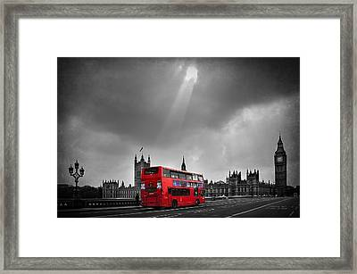 Red Bus Framed Print by Svetlana Sewell