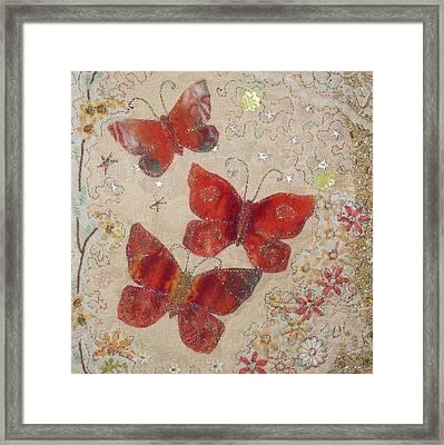 Red Butterflies Framed Print by Hazel Millington